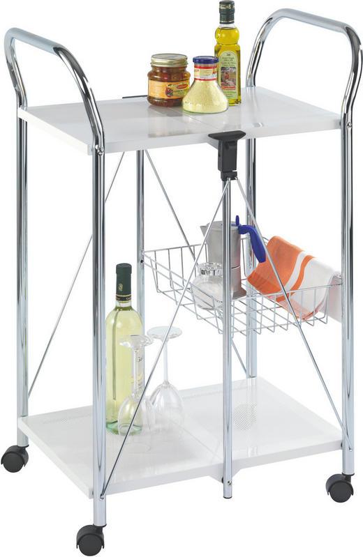 SERVIERWAGEN Metall Weiß - Weiß, Design, Kunststoff/Metall (58/90/44cm)