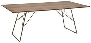 ESSTISCH Nussbaum furniert rechteckig Nussbaumfarben  - Edelstahlfarben/Nussbaumfarben, Design, Holz/Metall (200/100/76cm) - Ambiente