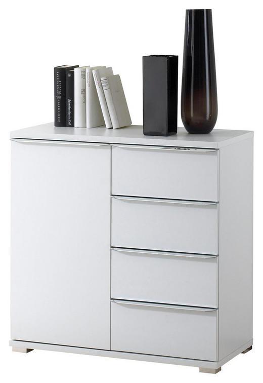 KOMMODE Weiß - Chromfarben/Weiß, Basics, Glas/Holzwerkstoff (80/80/40cm) - Moderano