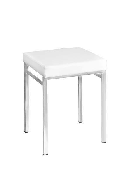 BADHOCKER - Chromfarben/Weiß, Design, Textil/Metall (36/47/34cm)