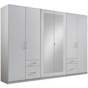 KLEIDERSCHRANK in Weiß - Silberfarben/Weiß, Design, Glas/Holzwerkstoff (270/210/58cm) - Carryhome