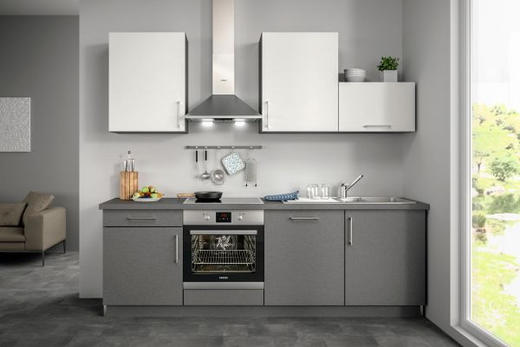 Küchenblock ohne E-Geräte 240,5 cm - Weiß/Grau, Design (240,5cm) - Set one by Musterrin