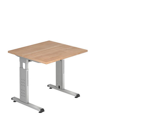 SCHREIBTISCH - Silberfarben/Nussbaumfarben, KONVENTIONELL, Holzwerkstoff/Metall (80/80cm)