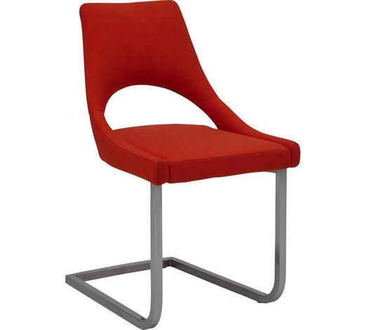 SCHWINGSTUHL in Metall, Textil Orange, Edelstahlfarben  - Edelstahlfarben/Orange, Design, Textil/Metall (50/87/60cm) - Dieter Knoll