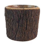 TEELICHTHALTER - Braun, Natur, Glas/Holz (13/11,5cm) - Ambia Home