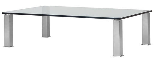 COUCHTISCH rechteckig Nickelfarben - Nickelfarben, Design, Glas/Metall (160/42.5/100cm)