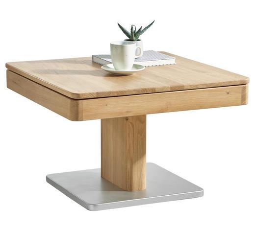 COUCHTISCH in Holz 70/70/45,5-(63) cm - Eichefarben/Alufarben, Design, Holz (70/70/45,5-(63)cm) - Linea Natura
