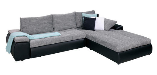 SEDEŽNA GARNITURA,  siva, črna tekstil - črna/siva, Design, umetna masa/tekstil (310/210/cm) - Boxxx
