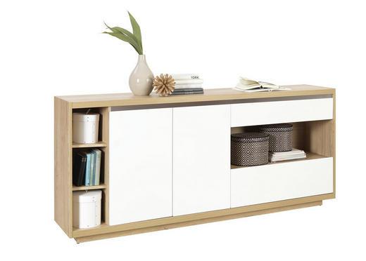 SIDEBOARD Hochglanz Eichefarben, Weiß - Eichefarben/Weiß, Design, Holzwerkstoff (199,2 87 40cm) - Ti`me