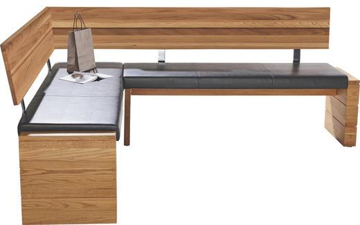 ECKBANK Lederlook Eiche massiv Eichefarben, Schwarz - Eichefarben/Schwarz, KONVENTIONELL, Holz/Textil (171/208cm) - CANTUS