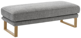 HOCKER Flachgewebe Grau  - Eichefarben/Grau, LIFESTYLE, Holz/Textil (138/45/58cm) - Valnatura