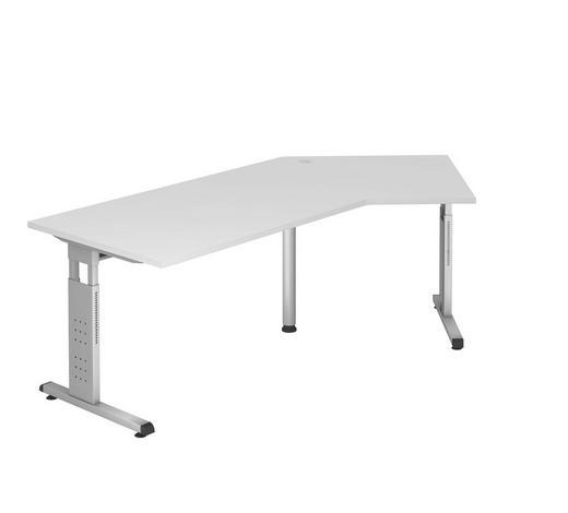 SCHREIBTISCH - Silberfarben/Weiß, KONVENTIONELL, Holzwerkstoff/Metall (113/210cm)