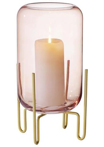 WINDLICHT  - Pink/Messingfarben, Trend, Glas/Metall (17,2/31,5cm)
