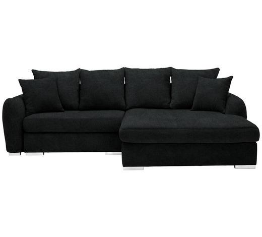 WOHNLANDSCHAFT in Textil Schwarz - Chromfarben/Schwarz, Design, Kunststoff/Textil (275/195cm) - Carryhome