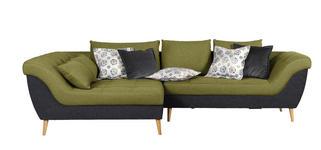 WOHNLANDSCHAFT in Textil Anthrazit, Grün  - Anthrazit/Naturfarben, Design, Holz/Textil (175/313cm) - Carryhome