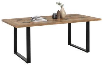 JÍDELNÍ STŮL, masivní, mangové dřevo, černá, přírodní barvy - černá/přírodní barvy, Trend, kov/dřevo (200/100/76cm) - Ambia Home