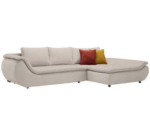 WOHNLANDSCHAFT in Textil Naturfarben, Taupe  - Taupe/Schwarz, Design, Kunststoff/Textil (310/185cm) - Carryhome