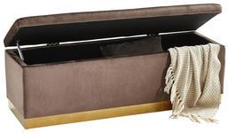 TRUHENBANK Samt Kiefer massiv, Sperrholz Braun, Goldfarben  - Goldfarben/Braun, MODERN, Holz/Textil (120/42/40cm) - Xora
