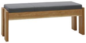 HOCKERBANK Eiche massiv Eichefarben, Grau - Eichefarben/Grau, KONVENTIONELL, Holz/Textil (130cm) - Voleo