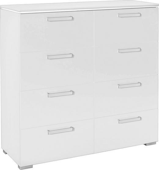 KOMMODE Weiß - Silberfarben/Alufarben, Design, Kunststoff/Metall (110/106/42cm) - Hom`in