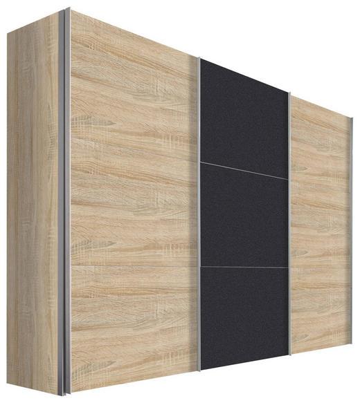 SCHWEBETÜRENSCHRANK in Eichefarben, Graphitfarben - Eichefarben/Alufarben, Design, Holzwerkstoff/Metall (300/216/68cm) - Hom`in
