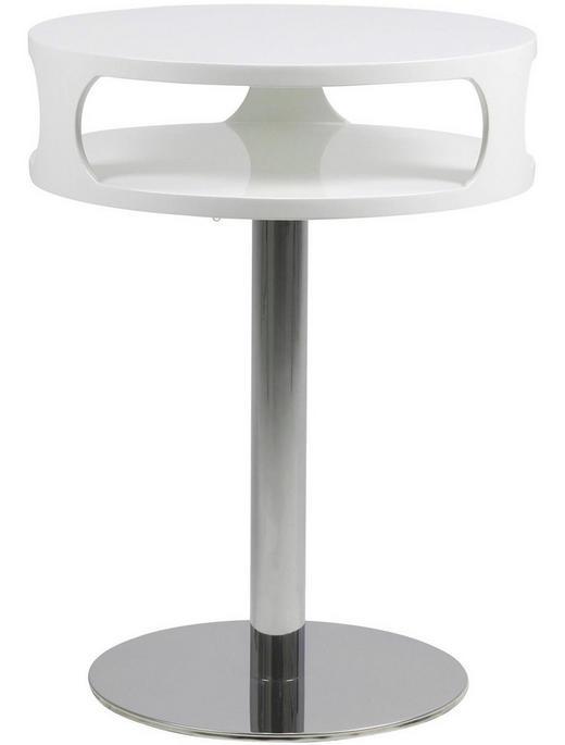 BEISTELLTISCH rund Chromfarben, Weiß - Chromfarben/Weiß, Design, Metall (45/60cm) - Carryhome