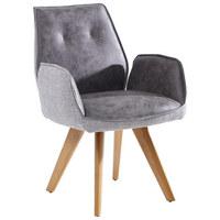 ARMLEHNSTUHL in Eichefarben, Grau - Eichefarben/Grau, Design, Holz/Textil (65/89/60cm) - Venda