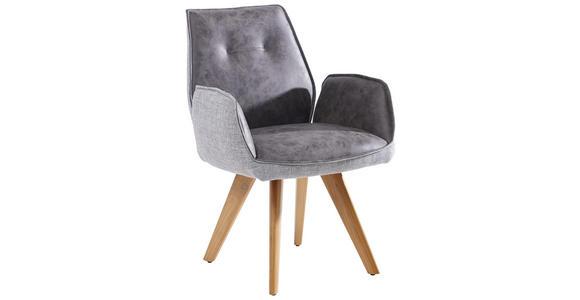ARMLEHNSTUHL in Grau, Eichefarben  - Eichefarben/Grau, Design, Holz/Textil (65/89/60cm) - Venda