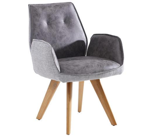 ARMLEHNSTUHL Lederlook Esche massiv Grau, Eichefarben  - Eichefarben/Grau, Design, Holz/Textil (65/89/60cm) - Venda