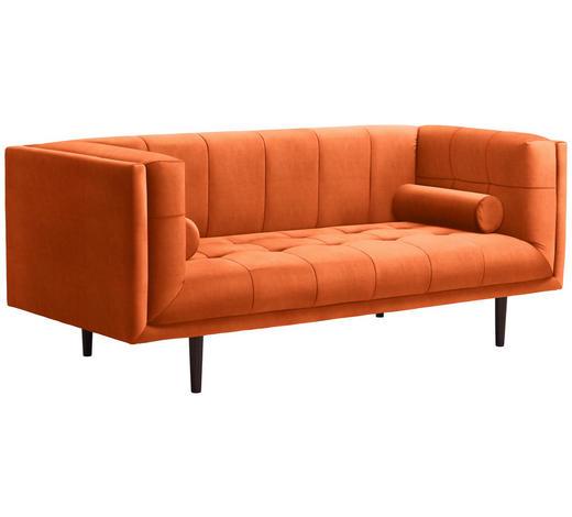 SOFA in Textil Orange - Dunkelbraun/Orange, Design, Holz/Textil (200/80/87cm) - Carryhome
