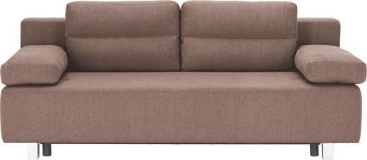 SCHLAFSOFA Webstoff Hellbraun - Hellbraun/Alufarben, Design, Kunststoff/Textil (204/70/80/94cm) - CARRYHOME