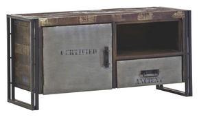 MEDIABÄNK - brun, Design, metall/trä (120/60/45cm)