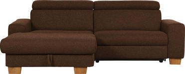WOHNLANDSCHAFT Mikrofaser Schlaffunktion - Eichefarben/Dunkelbraun, Design, Textil (178/262cm) - Hom`in