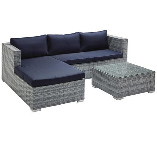 Loungegarnitur  - Blau/Silberfarben, Romantik / Landhaus, Glas/Kunststoff (197/145/63cm) - Ambia Garden
