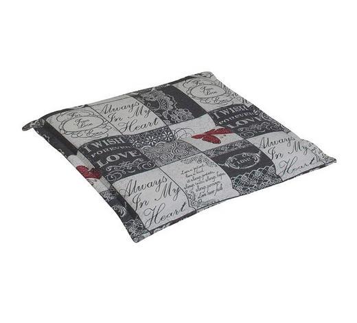 GARTENSITZKISSEN Karo  - Weiß/Grau, Design, Textil (48/4/48cm)