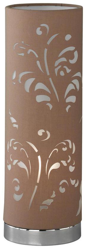 BORDSLAMPA - brun/kromfärg, Lifestyle, metall/textil (35cm)