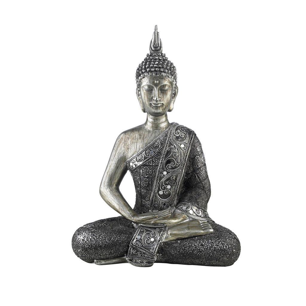 Image of Ambia Home Buddha 22,5/29,5 cm , Nyj100304 , Silberfarben , Kunststoff, Stein , 22.5x29.5 cm , glänzend , Kunsthandwerk, sitzend, zum Stellen, handgemacht , 0083060100