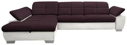 WOHNLANDSCHAFT in Textil Beige, Violett - Chromfarben/Beige, Design, Textil/Metall (204/297cm) - Xora