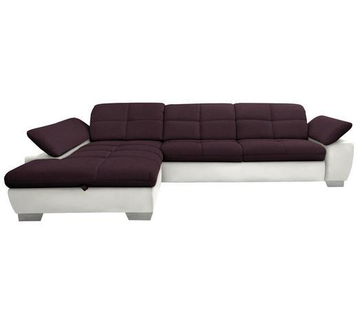 WOHNLANDSCHAFT in Textil Violett, Beige - Chromfarben/Beige, Design, Textil/Metall (204/297cm) - Xora