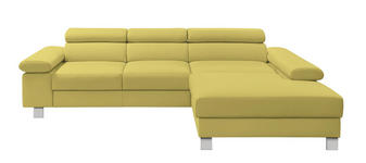 Ecksofa Echtleder - Chromfarben/Gelb, Design, Leder/Metall (276/198cm) - Venda