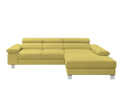 Ecksofa Gelb Echtleder - Chromfarben/Gelb, Design, Leder/Metall (276/198cm) - Venda