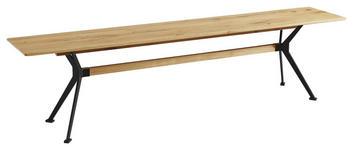 SITZBANK in Holz, Metall Schwarz, Eichefarben  - Eichefarben/Schwarz, Natur, Holz/Metall (220/45/35cm) - Linea Natura