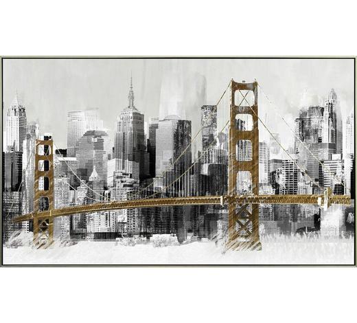 KUNSTDRUCK Architektur  - Silberfarben/Braun, Design, Holz/Kunststoff (120/70cm) - Monee