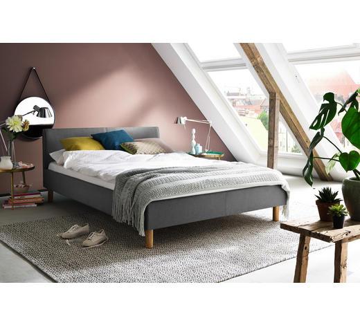 POLSTERBETT 120/200 cm Hellgrau  - Eichefarben/Hellgrau, Design, Holz/Textil (120/200cm) - Carryhome