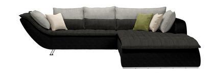 WOHNLANDSCHAFT Grau, Schwarz - Chromfarben/Hellgrau, Design, Textil/Metall (300/220cm) - Hom`in