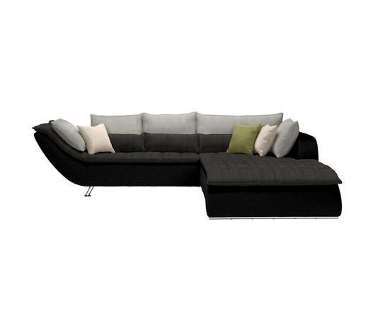 WOHNLANDSCHAFT in Textil Grau, Schwarz - Chromfarben/Hellgrau, Design, Textil/Metall (300/220cm) - Hom`in
