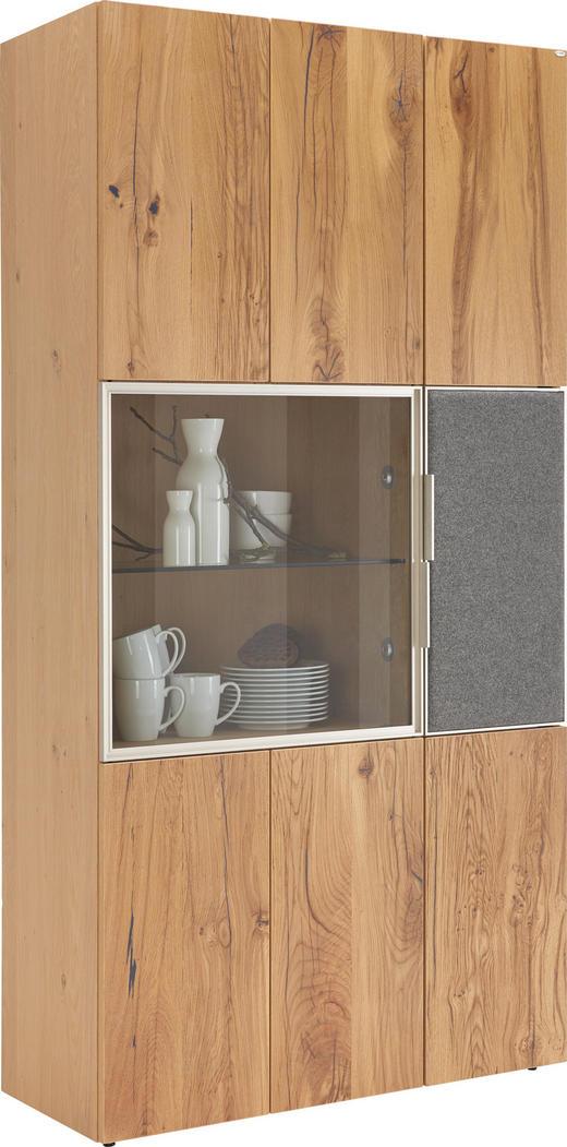 VITRINE Altholz, Eiche furniert, mehrschichtige Massivholzplatte (Tischlerplatte) Eichefarben, Grau - Eichefarben/Silberfarben, Natur, Glas/Holz (96/194/42,3cm) - Voglauer