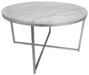 SOFFBORD - vit/kromfärg, Design, metall/sten (80/46cm)