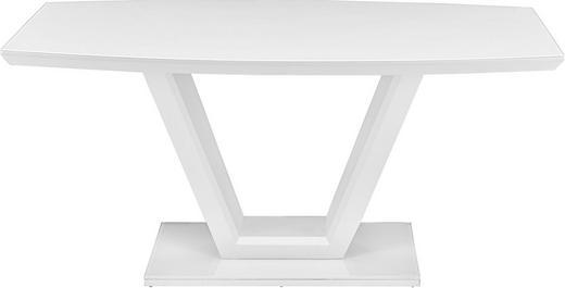 ESSTISCH bootsförmig Weiß - Weiß, Design, Glas/Holzwerkstoff (160(210)/90/76cm) - Carryhome