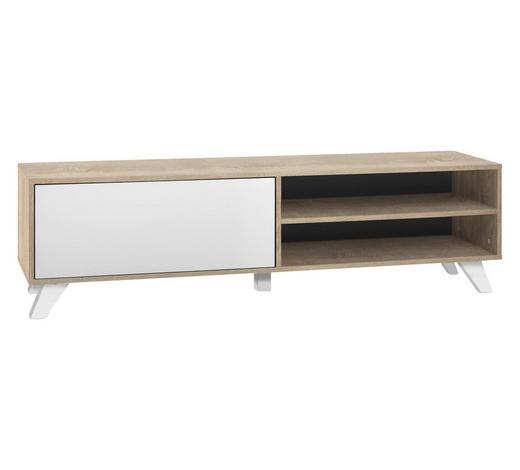 TV-ELEMENT Weiß, Sonoma Eiche  - Weiß/Sonoma Eiche, Design, Holzwerkstoff (160/45/40cm) - Carryhome
